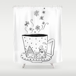 A cup of snow flakes Shower Curtain