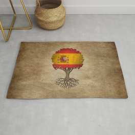 Vintage Tree of Life with Flag of Spain Rug