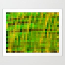 green yellow and black pixel Art Print