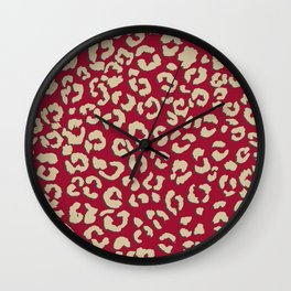Modern brown beige leopard pattern print on red color trends Wall Clock