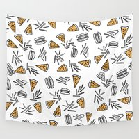 fries Wall Tapestries featuring Burgers Pizza And Fries  by Vasare Nar