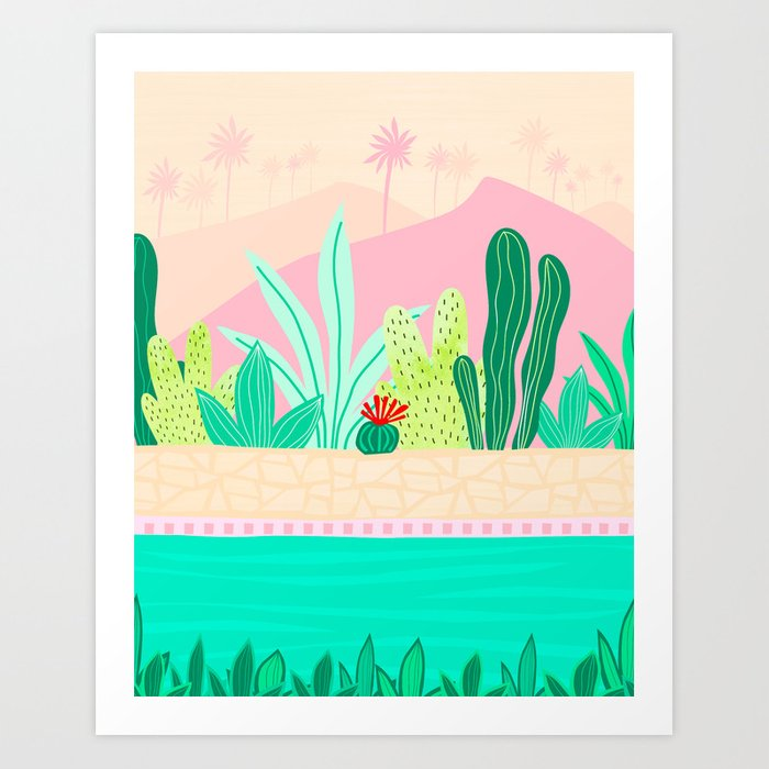 Oasis - Pink and Green Art Print