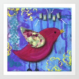 Pink Bird, Girls Room Painting, Shine, Inspirational Mixed Media, Purple, Light Blue, Yellow Art Print