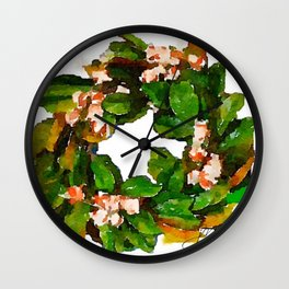 Magnolia Wreath Wall Clock