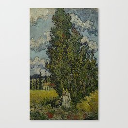 Cypresses and Two Women Canvas Print