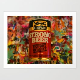 Old Leopard Strong Beer Can Art Print