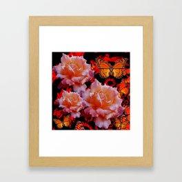 Three Antique Pinkish Roses Monarch Butterflies Art Framed Art Print