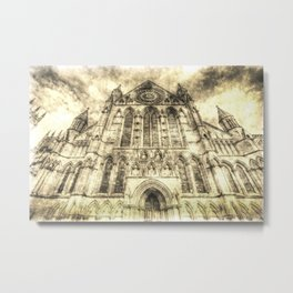 York Minster Cathedral Vintage Metal Print