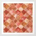 Rose Quartz & Gold Moroccan Tile Pattern by tanyalegere