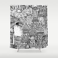 russia Shower Curtains featuring To Russia, With Love by Candice Soon