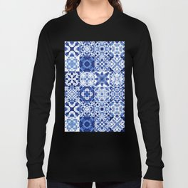 Indigo Watercolor Tiles Long Sleeve T-shirt