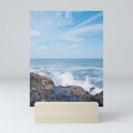 Blue sky and spashing seawater - dutch beaches - travel photography Mini Art Print