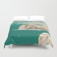 portugal Duvet Covers featuring Portugal-Algarve, Cross Stitch by Mr & Mrs Quirynen