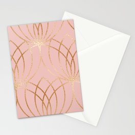 Rose gold millennial pink blooms Stationery Cards