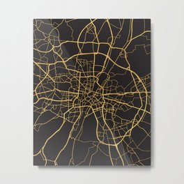 MUNICH GERMANY GOLD ON BLACK CITY MAP Metal Print