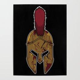 Spartan Helmet in Bloodstain | Warrior Workout Poster
