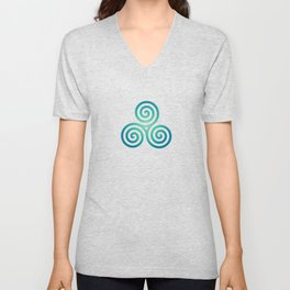 St. Patrick's Day Celtic Blue Triskelion #1 Unisex V-Neck