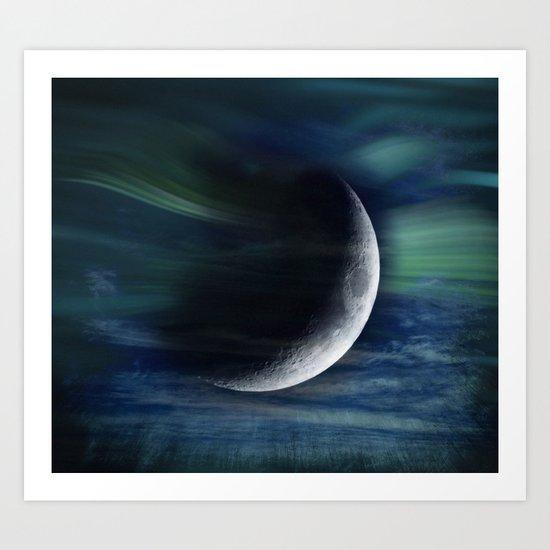 Crescent Blue Moon Art Print