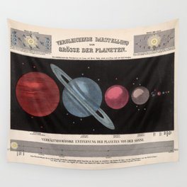 Vintage Solar System Size Comparison Chart (1855) Wall Tapestry