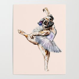 Pug Ballerina in Dog Ballet | Swan Lake  Poster