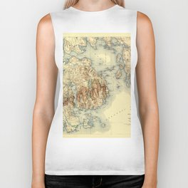 Map Of Acadia National Park 1931 Biker Tank