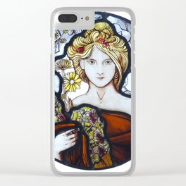 Stained Glass Art Nouveau Roundel Clear iPhone Case