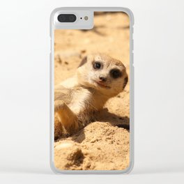 Meerkat Suricat suricatta Sunbathing #decor #society6 Clear iPhone Case