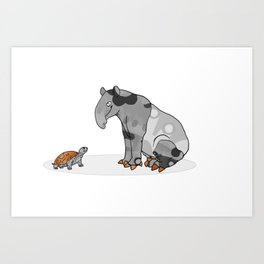 Tapir meets Turtle, Cute Animal Illustration, Black & White with Copper Metallic Accent Funny Turtle Art Print