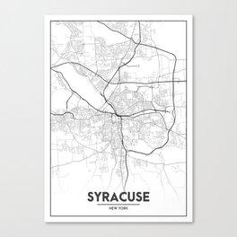 Minimal City Maps - Map Of Syracuse, New York, United States Canvas Print