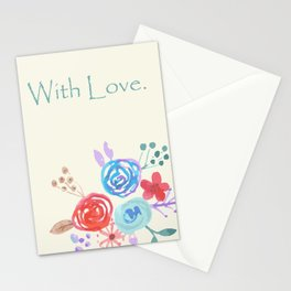 Watercolour Folk flowers 'With Love' Stationery Cards
