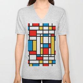 Tribute to Mondrian No2 Unisex V-Neck