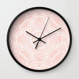 Pink Rose Ethnic Mandala Pattern Wall Clock