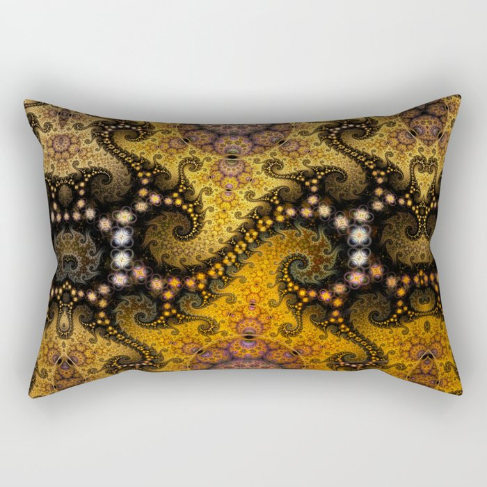 Golden dragon spirals and circles, fractal art Rectangular Pillow
