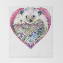 HedgeHog Heart by Michelle Scott of dotsofpaint studios Throw Blanket