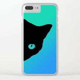 Black Cat Blue Green Tshirt Clear iPhone Case