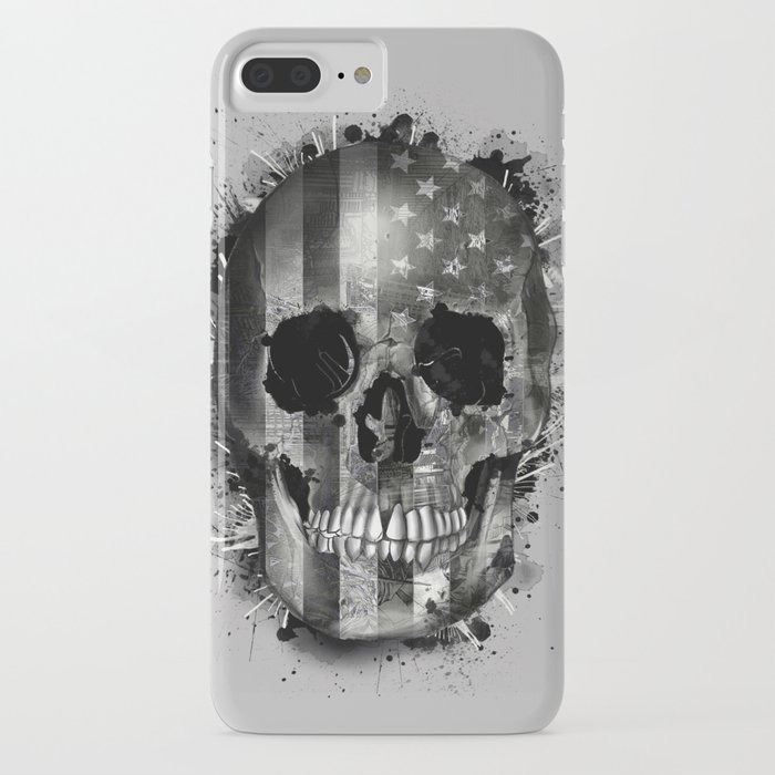 usa black and white skull iPhone Case