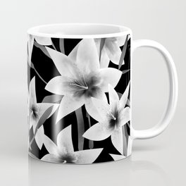 White lilies on a black background . Coffee Mug