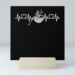 Heartbeat Heart Pulse ECG Bagpipe I Pipe Bag Mini Art Print