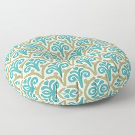 Floral Scallop Pattern Sage and Turquoise Floor Pillow