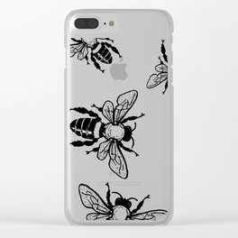 More Black Bees Pattern Vintage Handdrawn Clear iPhone Case