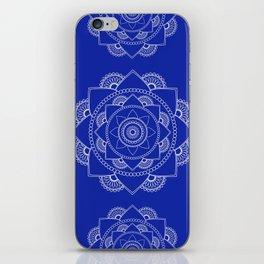 Mandala 01 - White on Royal Blue iPhone Skin