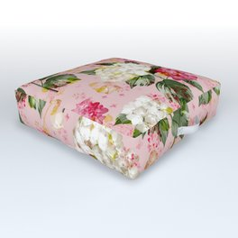 Vintage green pink white bohemian hortensia flowers Outdoor Floor Cushion