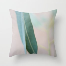 Eucalyptus leaves in the park Throw Pillow