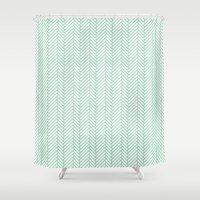 herringbone Shower Curtains featuring Herringbone Mint by Project M