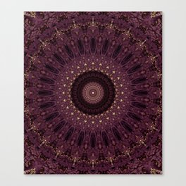 Mandala in dark purple and golden colors Canvas Print