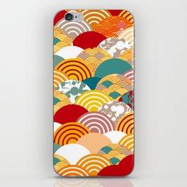 Nature background with japanese sakura flower, orange red pink Cherry, wave circle pattern iPhone Skin