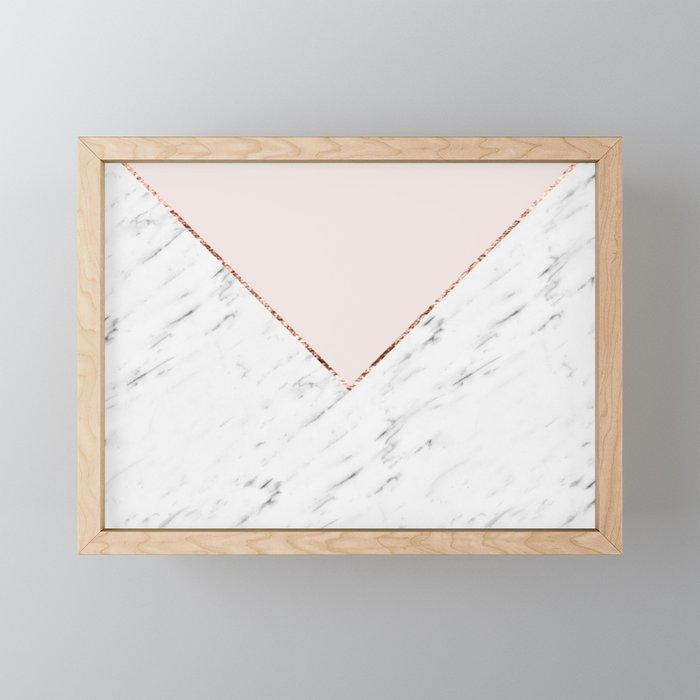 Peony blush geometric marble Framed Mini Art Print