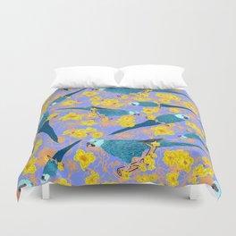 Spix Macaw Flower Power Duvet Cover