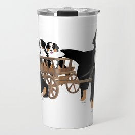 Family of Bernese Mountain Dogs with Wooden Wagon Travel Mug