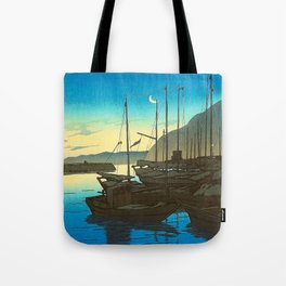 Japanese Woodblock Print Fishing Boats During Sunrise Blue Waters And Sky Tote Bag
